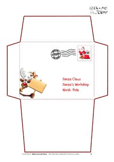 Charming Printable Letter To Santa Claus Envelope Template  Reindeer Stamp 6