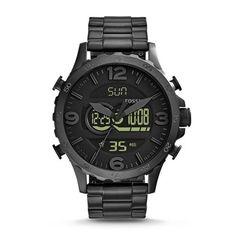 Now in stock Fossil Men's JR1507 Nate Analog-Digital Black Stainless Steel Watch