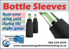 With the rugby season upon us, you can now keep your beer cold and your hands warm with our bottle cooler sleeves. Order your cooler sleeve today! Contact us on 0832782078 for inquires