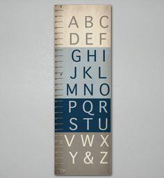 Alphabet Growth Chart, ABC, Unique Children's Art 10 X 30, Kids Room, Blue Nursery, Home Decor, Art Print, Baby, Gift, Present, Cute