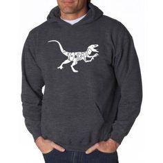 Los Angeles Pop Art Men's Hooded Sweatshirt - Velociraptor, Size: XL, Gray
