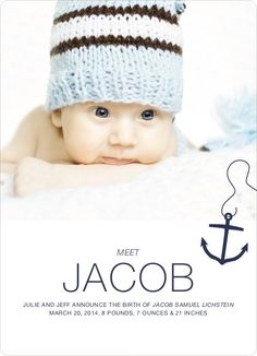 Anchors Away Birth Announcements by Paper Culture