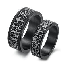 Men's Women's Black Love Stainless Steel Bible Cross Wedding Band Couple Promise Ring Valentines Day Gifts