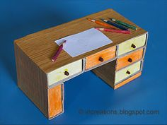 Miniature desk made of matchboxes