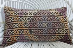 "kilim pillow preppy pillow purple pillow chair cushion kilim lumbar pillow  12"" x 20""inches chic throw pillow outdoor furniture cover 280"