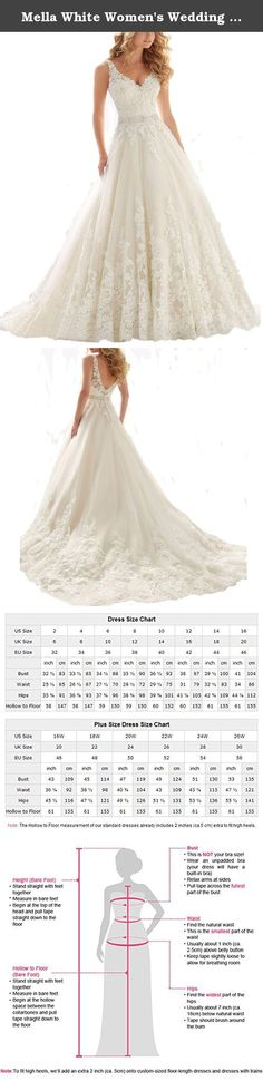 Mella White Women's Wedding Dresses for Brides Lace Wedding Dress 2017 (Custom). Mella Bridal White Women's Double V-Neck Wedding Dress for Bride Lace Applique Empire Chapel Train Wedding Dress 2017 Free Super Gift: 30$ worth of Long Bridal Veils with Lace appliques, up to 9 ft (approximately 3m), Same Lace pattern as that of the wedding dress shown in picture. Perfect match for the brides. Standard Size Option: Choose the size from the dropdown menu according to our Size Chart Image...