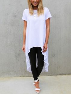 Shop Choies Design White High Low Loose T-shirt from choies.com .Free shipping Worldwide.$16.9
