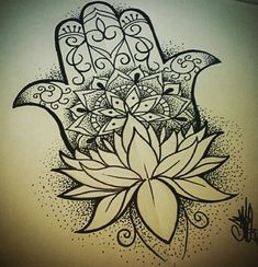 Image result for hamsa lotus black and white