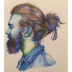 """444 Likes, 50 Comments - f. (@f6sj_) on Instagram: """"The original one is colorful :) colored pencils #au #coloredpencil #artistiqcfeature"""" #art #sketch #sketches #sketching #sketchbook #coloredpencil #beard #hairbun #hairstyle #arts #drawing #drawings #draws #draw #artistic"""