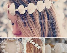 Lily - 3 in 1 - White Shell - Mermaid Crown / Headband / Necklace with Glass Pearls