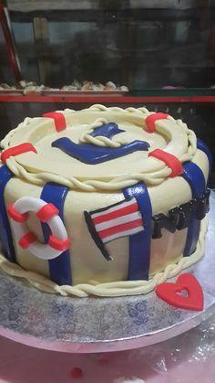 Nautical theme cake covered with milk fondant