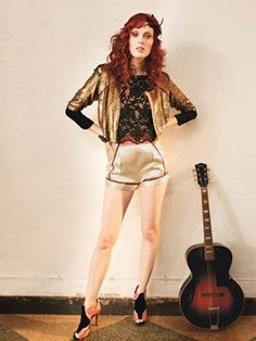 Karen Elson wearing ERIN Pre-Fall Floral Blouse in Lucky Magazine -