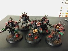Converted Horus Heresy 30k Word Bearer Cataphractii Terminators made from the calth set and the dark angels terminator set.