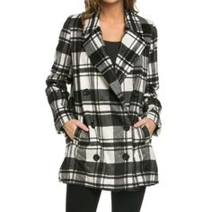 Plaid jacket ONE HOUR SALE Chic side pocket great plaid coat fully lined length from shoulder down on the size small is 31 inches this is a acrylic/poly/nylon blend PLEASE PLEASE Use the Poshmark new option you can purchase and it will give you the option to pick the size you want ( all sizes are available) BUNDLE and save 10% ( no trades price is firm unless bundled) Jackets & Coats Pea Coats