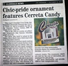 #TBT The city of #Glendale made an #ChristmasTree #Ornament it tribute to #CerretaCandyCo #Chocolatefactory #Arizona