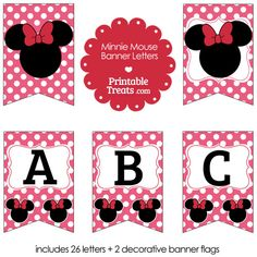 Pink Minnie Mouse Banner Letters from PrintableTreats.com
