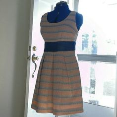 Eva Franco dress Peach and denim color.  Never worn,  brand new. Zips on the side. Eva Franco Dresses Midi