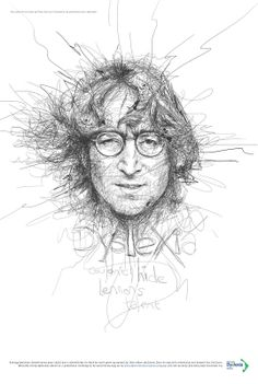 From the Chaos of Scribbled Lines - Dyslexia Awareness. An impressive scribble portrait of JOHN LENNON by Vince Low, KL, Malaysia John Lennon, Illustrations, Illustration Art, Vince Low, Drawing Sketches, Art Drawings, Scribble Art, Celebrity Portraits, Caricatures