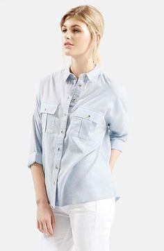 Women's Topshop Oversize Chambray Shirt