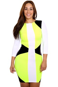 Watch out for some serious curves ahead! This bodycon dress features a midi length with a two-tone design and long sleeves. Dress is stretchy and doesn't include any closures.Model is wearing a small*96% Polyester*4% Spandex*Hand wash cold water*Do not bleachPRE ORDER ONLYPLEASE ALLOW 2-4 DAYS FOR PROCESSING AND 6 BUSINESS DAY FOR SHIPPING(10 BUSINESS DAYS) EXPECTED DELIVERY DATE 3/25