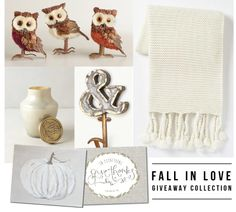 the FALL IN LOVE collection: chunky knit tassle throw, set of three owls, ampersand hook, constellation candle & two fall prints from JDC