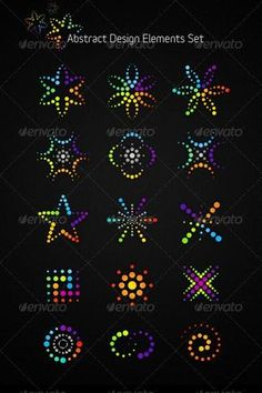 Buy Abstract Vector Design Elements Set by subtropica on GraphicRiver. 15 fresh and funky design elements will help you to create stylish eye-catching posters, web icons or identity elemen. Rock Painting Patterns, Dot Art Painting, Rock Painting Designs, Stone Painting, Painting Tools, Abstract Art, Mandala Art Lesson, Mandala Drawing, Mandala Painting