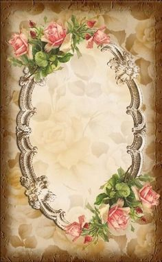 Scalloped frame with pink roses on faded rose background gilded. Decoupage Vintage, Vintage Diy, Vintage Labels, Vintage Ephemera, Vintage Cards, Vintage Paper, Images Vintage, Vintage Frames, Vintage Pictures
