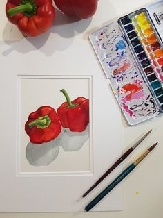 Kitchen Art- Red Peppers in watercolour- art on paper ready to Frame. by Tina Maher