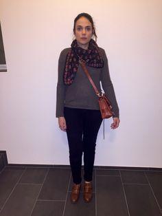 OOTD: Top Shop denim- Zadig & Voltaire cashmere knit- Zara shoes- Zadig & Voltaire scarf- Proenza Schouler bag