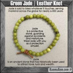 Jade is an ancient stone that has historically been used to attract love. Jade is said to bless whatever it touches, serving mankind across the globe for nearly 6,000 years. .....Mala Yoga bracelet - Law of Attraction. manifest. #LOA mens womens charm chakra beaded stacks. Green Jade.