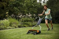 manual lawn mowers r good for health as well as environment . u can finish ur daily exercise when u mowing. its good for small lawn . Lawn Equipment, Outdoor Power Equipment, Manual Lawn Mower, Cordless Lawn Mower, Lawn Care, Modern Design, Lawns, Big Time, Drums