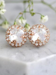 Bridal Earrings, Bridal Crystal White Clear Earrings, Swarovski Bridal Crystal Stud Earrings, Bridesmaids Earrings, Gift For Her Bridesmaid Earrings, Bridal Earrings, Etsy Earrings, Wedding Jewelry, Bridesmaids, Gold Wedding, Swarovski Crystal Earrings, Crystal Jewelry
