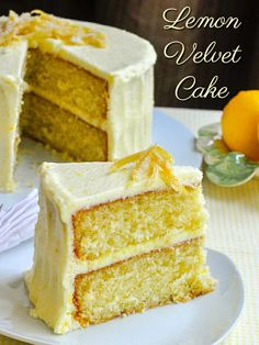 Lemon Velvet Cake. Photo with title text for Pinterest.