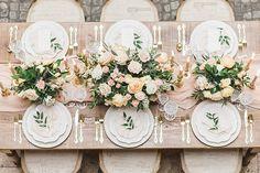 Rustic Peach and Gold Wedding Reception Decor
