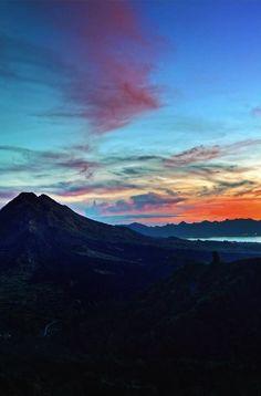 View of Mt Batur in Bali as the sun rises.