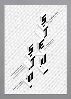 Affiche, Portes ouvertes 2011, école d'arts appliqués, La Chaux-de-Fonds, eaa, ascension, typographie, complémentarité, perspective, 3D, noi...
