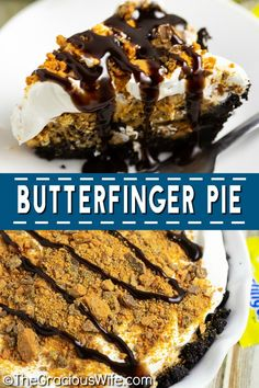 Butterfinger pie is an easy no bake dessert recipe with an Oreo crust and a creamy peanut butter and Butterfinger filling. Rich, decadent, and the BEST no bake pie you'll ever make! Make it in just 20 minutes!