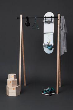 Discreet Design for Home Organisation Skateboard Storage, Mini Dressing, Displays, Home Organisation, Garment Racks, Hanging Rail, Wire Shelving, Storage Design, Handmade Furniture