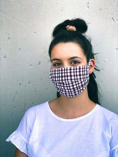 iHouzit Face Mask Fabric, 3 Ply - Maroon Check Cotton iHouzit. Size: 18.5 cm x 8.5 cm  Each mask is made by hand, washed and sanitised for you.
