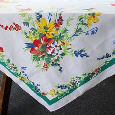 Vintage Linen Tablecloth Flowers Table Cloth Printed Cotton Green Blue Red White on Etsy, $35.00