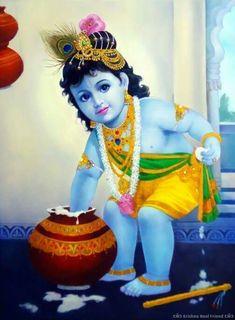 Buy Paintings Online by Artist Dilip Kadam - Bal Krishna - Bal Krishna Photo, Krishna Lila, Little Krishna, Krishna Hindu, Baby Krishna, Radha Krishna Images, Cute Krishna, Krishna Pictures, Ganesh Photo