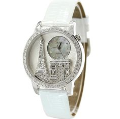 Free Shipping! Stunning Ladies Eiffel Tower Watch (White)