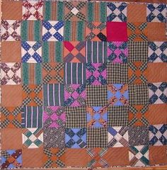 """Wool Crossroads Quilt: Circa 1870  Rich colored fine wools were used to make this exceptional version of the Crossroads pattern. Highly unusual cotton printed fabric on the back would make this an equally interesting whole cloth quilt to be used on the reverse.Excellent condition on both sides. Measures 81"""" square."""