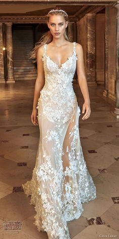 galia lahav fall 2017 bridal sleeveless thin strap sweetheart neck full embellishment elegant sexy sheath wedding dress open back chapel train (kira) mv
