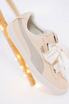 Pretty in Puma ✨ Pastel Shoes, Puma Basket Heart, Powder Pink, Baby Blue, Trainers, Sneakers, Pretty, Fashion, Tennis