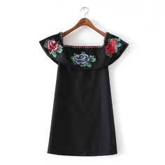 Women Sexy Off Shoulder Dresses floral Embroidery ruffle Slash Neck vintage Dress Ladies Summer Casual Mini Vestidos QZ2560