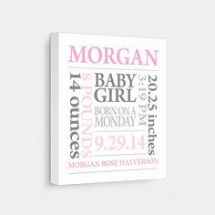 8 x 10 personalized baby birth print footprint baby birth canvas print baby subway art pink grey negle Gallery
