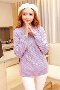 Purple Round Neck Cable Knit Korean Fashion Sweater