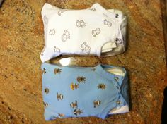 Recycled Baby Clothes: what to do with the newborn onesie that your baby outgrows in about a minute....cut off the top, sew a straight line and you have yourself an emergency diaper and wipe holder. I put these in our cars and keep a few at home. It holds a wipes container and 3 diapers.