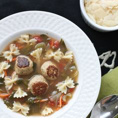Italian Wedding Soup with turkey meatballs. Great for a chilly evening at home!
